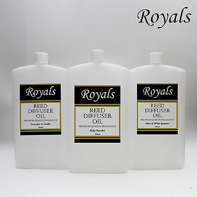 Royals Reed Diffuser Oil Refill 300ml Clear Various Fragrances Room Scent UK