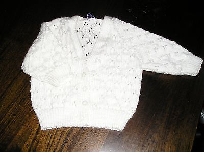 Newborn Babies White Handknitted Lace Cardigan. Size 000.great Gift. Gorgeous.