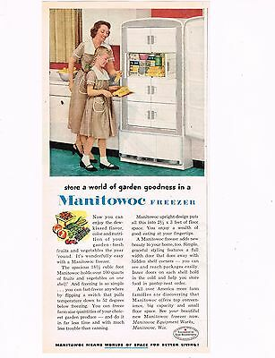 "Vintage 1953 MANITOWOC FREEZER Print Art Appliance COLOR Advertisement, 5""x10.5"""