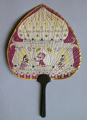 Vintage Air India Paper Advertising Fan with Wood Handle