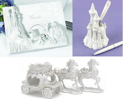 Once Upon a Time Cinderella Wedding Guest Book, Pen Set & Candle Stands