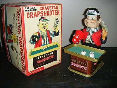 Working Vintage Battery Operated Cragstan Crapshooter Toy With Original Box!!