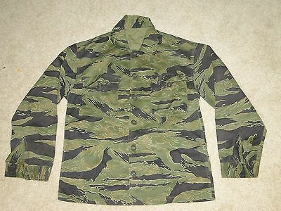 Vintage Vietnam War US Military Uniform Tiger Stripe Camo Jungle Shirt Jacket  L