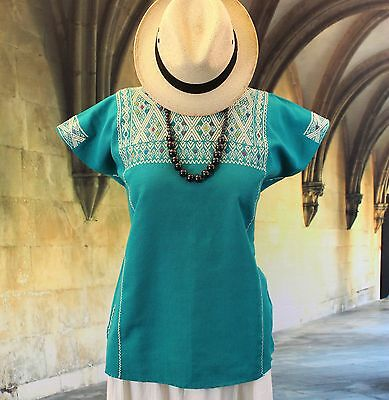 Cream & Turquoise Huipil Chiapas Mexico, Hand Woven Mayan, Mexican Blouse Hippie