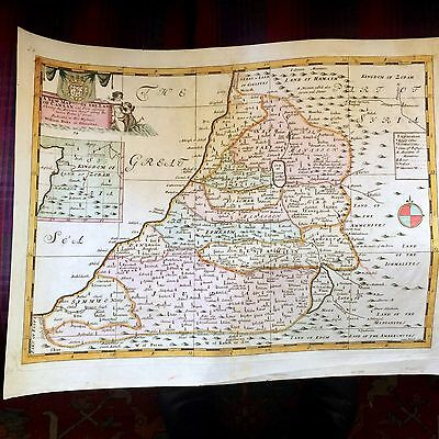 1712 Map Of The Holy Land By Areas Of The 12 Tribes Hand Colored Accordingly Wow