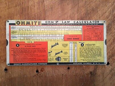 1941 OHMITE Mfg Co Ohm's Law Calculator 0.1 to 10 Megohms Perry Graf Corp. USA