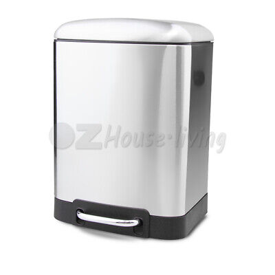 6L Stainless Steel Pedal Bin Rubbish Bins Can Waste Home Kitchen Trash