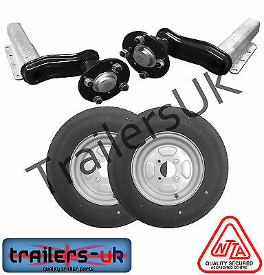 "750kg Trailer Suspension Kit - 145x10"" Wheels 4"" or 100mm PCD - NEXT DAY DEL"