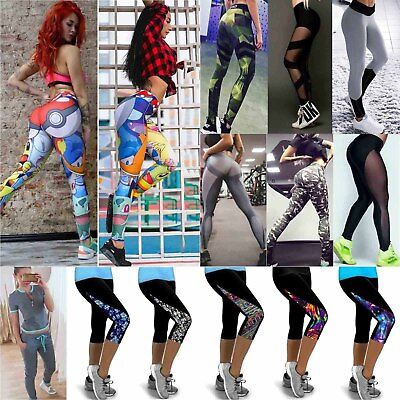 Women Yoga Sports Leggings Running 3/4 Printed Pants Casual Gym Stretch Trousers