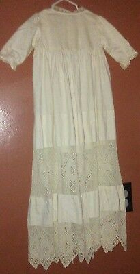 Vintage Cathedral Length Muslin Christening Gown W Inserted Crochet Lace Infant