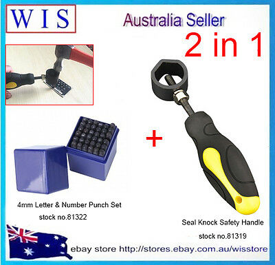36pc 4mm Letter & Number Punch Set w Seal Knock Safety Handle,2 in 1 Hand Tool