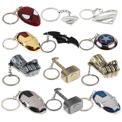 Marvel DC Super Hero Logo Keychain Keyring Batman Superman Iron Man Key Chain