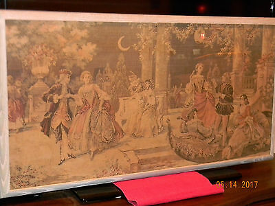 Beautiful  Antique Tapestry, Venice Park Colonial Scene (Professionally framed)