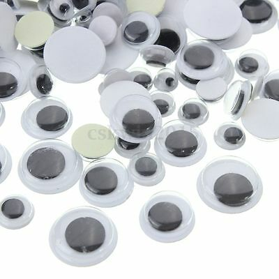 700pcs (4mm~16mm) Round Self-adhesive Wiggly Googly Eyes For Doll Toy DIY Craft