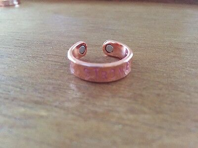 "Copper Magnetic Therapy Ring Womens ""STRONG"" Pink Spiritual Healing Arthritis"