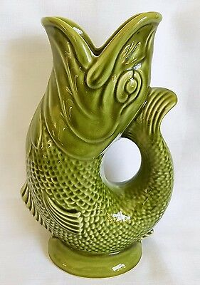"Large Vintage Dartmouth Pottery Rare Lime Green Gurgle Fish Jug 9 1/2"" 242 Mm"