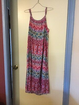 Pink And Blue Floral Dress, Size 12