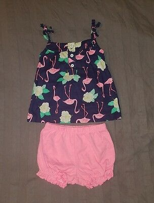 EUC Carters Baby Girl Clothes 3 Months Two Piece Sleeveless Shirt Shorts Outfit