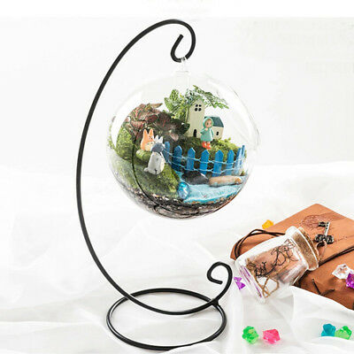 Hanging Glass Ball Vase Flower Plant Pot Terrarium Container Home Decor + Stand