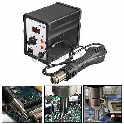 220V 858D Hot Air Soldering Rework Station Solder Iron Handle Stand W/ 3 Nozzles