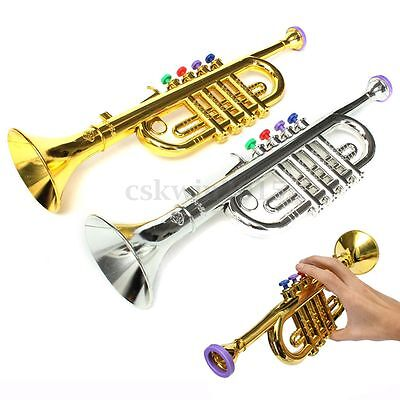 37x10cm Silver Gold Trumpet Horn Toy Fun Musical Instrument Child Kids Beginner