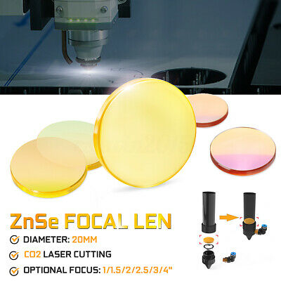 "ZnSe Focal Lens for CO2 Laser Cutting Dia 20mm Focus 1""/1.5/""2""/2.5""/3""/4"""