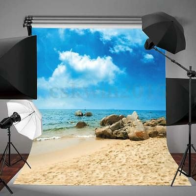 3x5FT Blue Sky Beach Backdrop Vinyl Photography Photo Background Studio Props