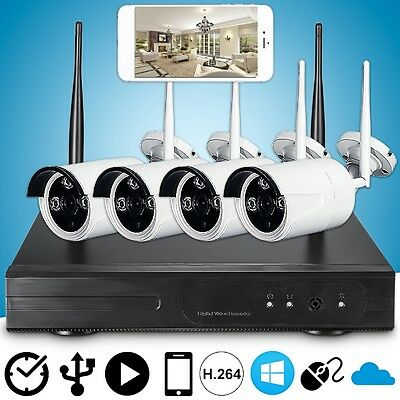 4CH 720P P2P WIFI CCTV DVR HD Wireless Outdoor Camera Recorder Security System