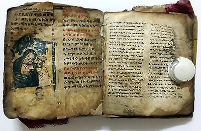 Ethiopian Antique Coptic Bible Manuscript Gazelle's Skin. See 71 Photos Inside.