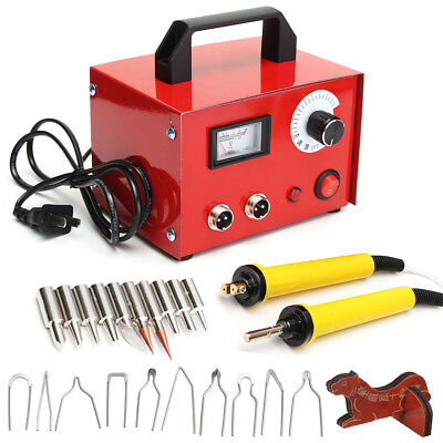 100W Pyrography Machine 2 Wood Burning Pen + Drawing / Chisel Tips Kit For Craft