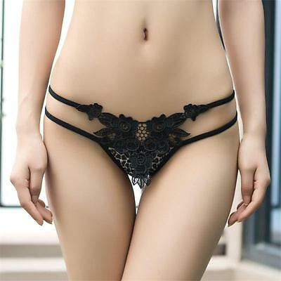 SexyWomen Lace Transparent Flower Panties Brief Underwear Tanga ThongsG-string W