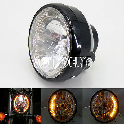 6.5 INCH Motorcycle Round Headlight Halogen H4 Bulb Head Lamp For HARLEY BOBBER