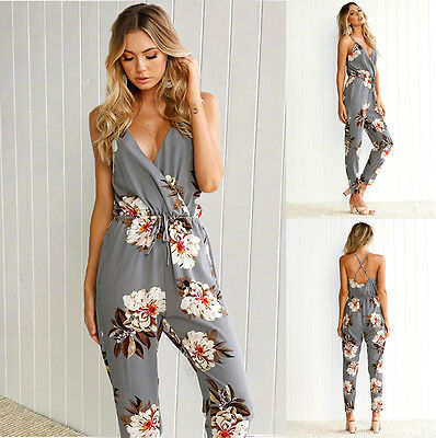 New Womens Holiday Floral Playsuit Ladies Jumpsuit Summer Beach Long Romper