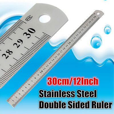 "12"" 30cm Stainless Steel Measuring Metric Metal Ruler Double Sided Measure Tool"