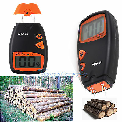 Firewood Moisture Meter LCD Digital Damp Detector Timber Wood Tester Sensor 4pin