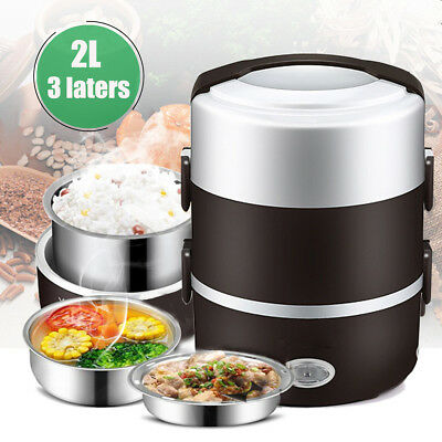 2L Electric 3 Box Layer Inner Pot Stainless Steel Keep Warm Steamer Rice Food