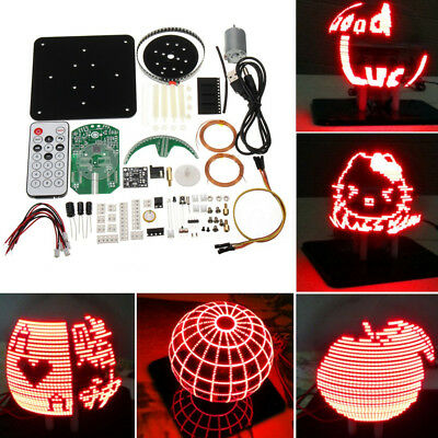 DIY Welding Spherical Rotation LED Suite 56 Lamp POV Rotating Clock Parts Kit
