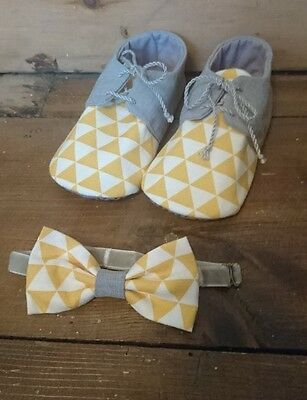12 - 18 months Boys shoes and boy tie. Wedding outfit yellow and grey