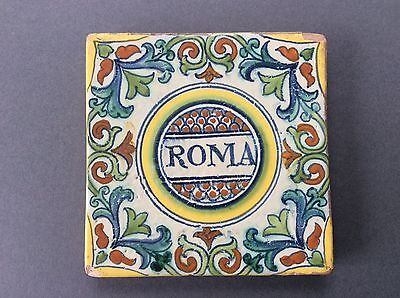 Handpainted ANTIQUE ITALIAN MAIOLICA Pottery TILE or Pot Stand, ROMA