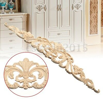2/4 pcs Wood Carved Long Onlay Applique Unpainted Flower Door Frame Decoration