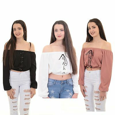 2539539460cce1 Womens Loose Baggy Long Sleeve Lace Up Ribbed Eyelet Off Shoulder Crop Top