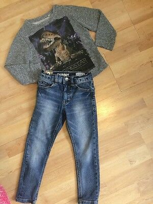 Next Boys Trendy Outfit Age 4 Years Skinny Fit Jeans, Dinosaur Jumper/sweater