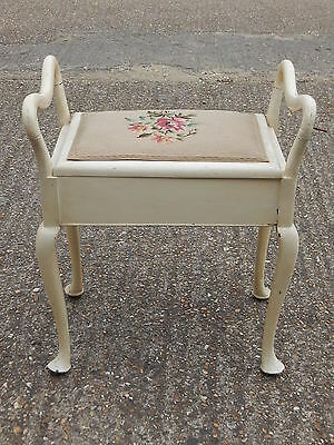 Vintage Queen Anne piano stool seat with lift top lid tapestry upholstered chair
