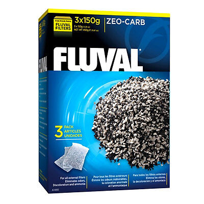Fluval Zeo Carb 450g (3 x 150G) Carbon Ammonia Remover Media Filter