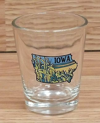 Iowa State Corn Fields Blue / Green / Yellow & Clear Shot Glass Only **READ**