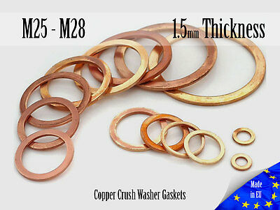 M25/M28 Thick 1,5mm Metric Copper Flat Ring Oil Drain Plug Crush Washer Gaskets