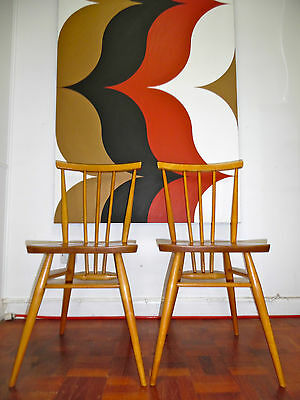 Vintage Mid Century Ercol Stickback Dining Chairs Elm Beech 50's 60's 391 Blonde