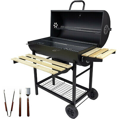 Charles Jacobs Large Charcoal Barrel BBQ Grill Big Garden Barbecue Garden Smoker
