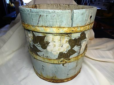 Antique Primitive Wood Bucket Band Staved Barrel Painted Rustic Country Decor