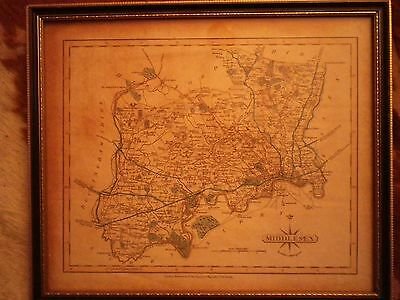 John Cary Map of Middlesex Old Framed Print